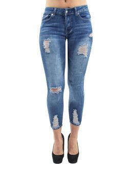 Women's Juniors, Destroyed Ripped, Butt Lift, Push Up, Mid Waist, Skinny Jeans