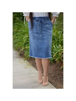 Fashion Ladies Belt Knee Length Denim One-Step Skirt Washed Jean Pencil Dress