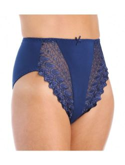 Women's Valmont 2320 Embroidered Lace and Satin Hi-Cut Brief Panties