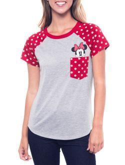 Minnie Mouse Pocket Polka-dot T-shirt Red Gray (juniors)