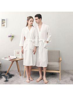 Bath Robe for Women & Men, Uarter Waffle Weave Bathrobe Couple Bath Robes Practical Night-robe for Spring and Summer, White, XXXL