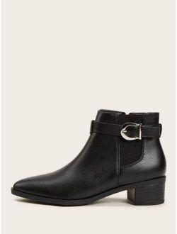 Side Zip Buckle Strap Jodhpur Boots