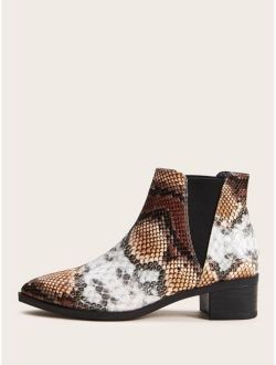 Snakeskin Print Chunky Chelsea Boots
