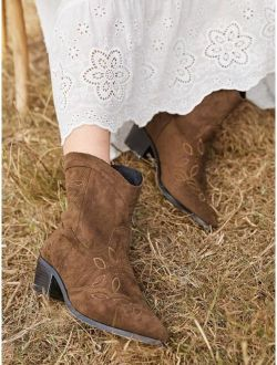 Point Toe Embroidered Pattern Chunky Boots