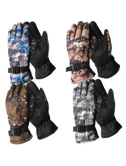 (4 Pack) Men's Winter Camouflage Warm Gloves Water Resistant Fleeced Lined