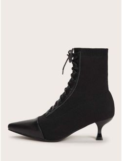 PU Panel Lace-up Front Point Toe Stiletto Heels