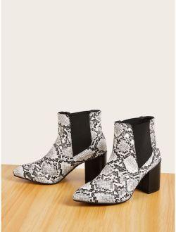 Point Toe Snakeskin Chelsea Boots