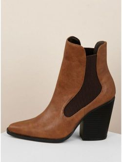 Pointy Toe Stretch Sides Block Heel Ankle Boots
