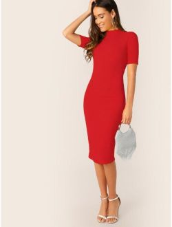 Mock-neck Solid Rib-knit Bodycon Dress