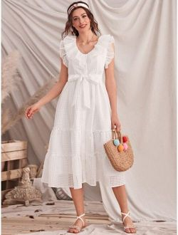 Button Front Ruffle Trim Plaid Belted Dress