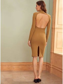 Mock-Neck Open Back Split Hem Bodycon Dress