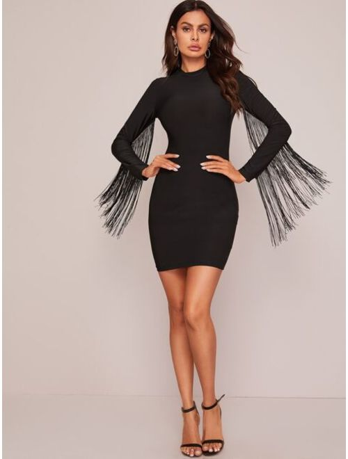 Shein Fringe Trim Bodycon Dress