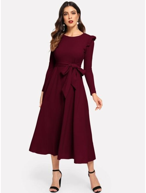 Shein Solid Ruffle Trim Belted Flare Dress