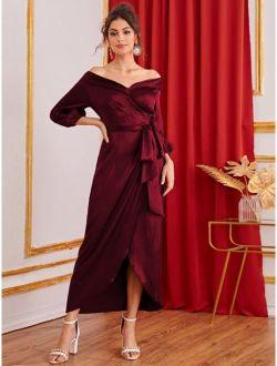Foldover Front Lantern Sleeve Self Belted Wrap Dress