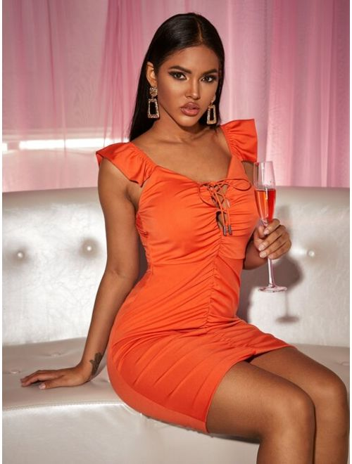 Lace Up Knot Ruffle Ruched Bodycon Dress