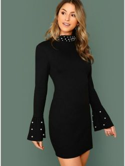 Pearl Beaded Bell Sleeve Bodycon Dress