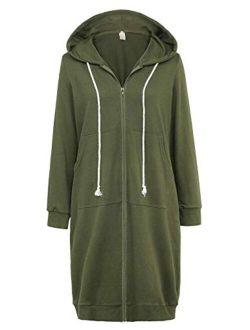 Women's Casual Pockets Zip Up Hoodies Tunic Sweatshirt Long Hoodie Jacket