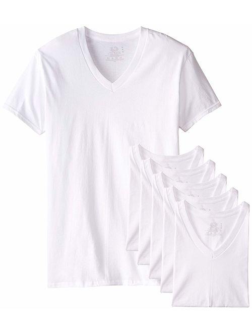 Fruit of the Loom Men's Tucked V-Neck T-Shirt (White, 3X Tall)