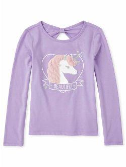 Girls 4-14 3d Fur Unicorn Long Sleeve T-shirt