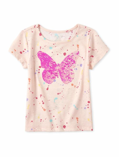 The Childrens Place Girls Flip Sequin Unicorn Top