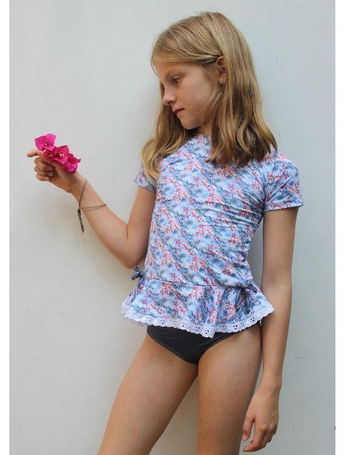 Azul Girls Blue Southern Charm Short Sleeve Rash Guard Bikini Set 8