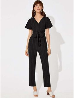 Belted Wrap Striped Jumpsuit