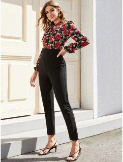 Tie Neck Floral Print Jumpsuit