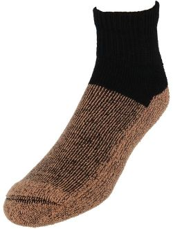 2 Pairs Copper Sole Black Ankle Socks XLarge