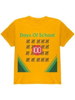 100 Days Of School Crayon Youth T Shirt Gold YMD