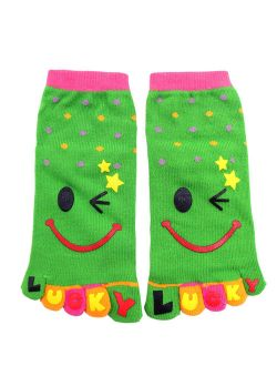 Dots Pattern Stretchy Ankle Length Toe Socks Size 8-9.5