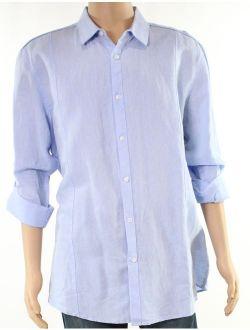INC Light Mens Medium Seamed Solid Button Down Shirt