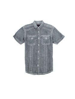 INC NEW Black Mens Size Medium M Button Down Linen Pocket-Front Shirt