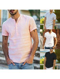 Mens Linen Short Sleeve Summer Solid Shirts Casual Loose Dress Soft Tops Tee