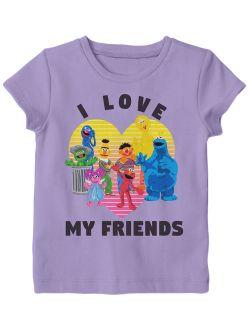 Sesame Street Girls Love Friends T Shirt (Toddler Girls)