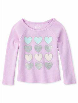 Baby Toddler Girl Glitter Heart Graphic Raglan T-shirt