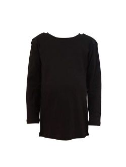 COUVER 100% Soft CottonKids/Children's Crew Neck Long Sleeve Plain Solid Color Shirt, Black 3T