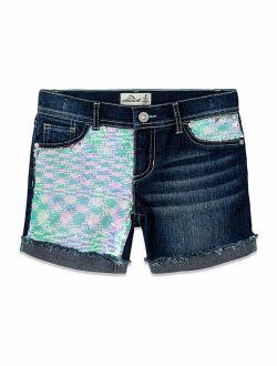 Girls 4-18 & Plus Flip Sequin Distressed Roll Cuff Short
