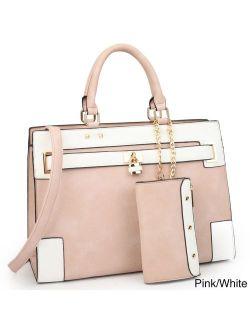 Faux Leather Padlock Satchel Handbag With Shoulder Strap