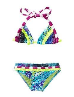 Girls Turquoise In The Mix Triangle Top 2 Pc Bikini Swimsuit