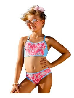 Girls Coral Pink Gypsy Action Back Bikini 2 Pc Swimsuit