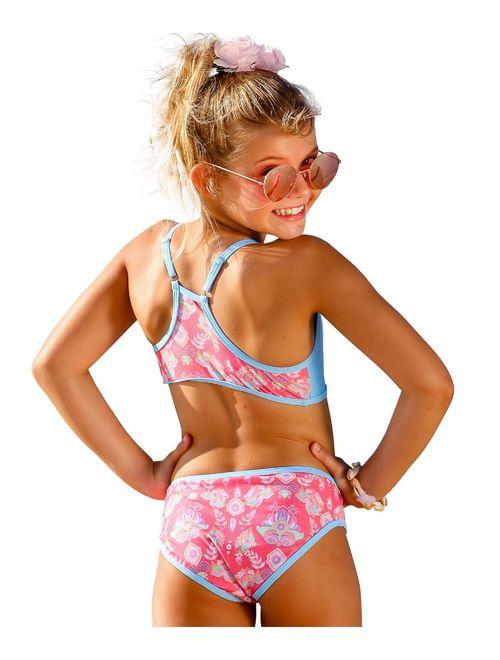 Sun Emporium Girls Coral Pink Gypsy Action Back Bikini 2 Pc Swimsuit