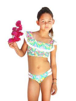 Azul Girls Multi Color Free Spirits Peasant 2 Pc Bikini Swimsuit