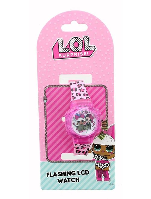 LOL Surprise Flashing LCD Watch - Pink Leopard Print Band