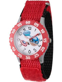 Emoji Kids' Captain America Stainless Steel Time Teacher Watch, Red Bezel, Red Hook and Loop Nylon Strap with Black Backing