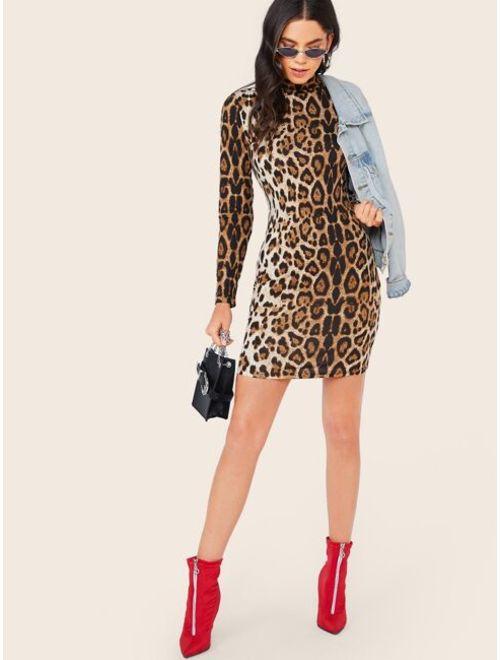 Shein Mock Neck Leopard Print Pencil Dress