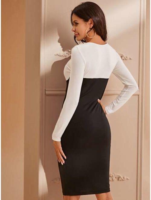 Shein Two Tone Bustier Bodycon Dress