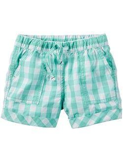 Carter's Big Girls' Plaid Woven Short, Blue/White, 7-Kids