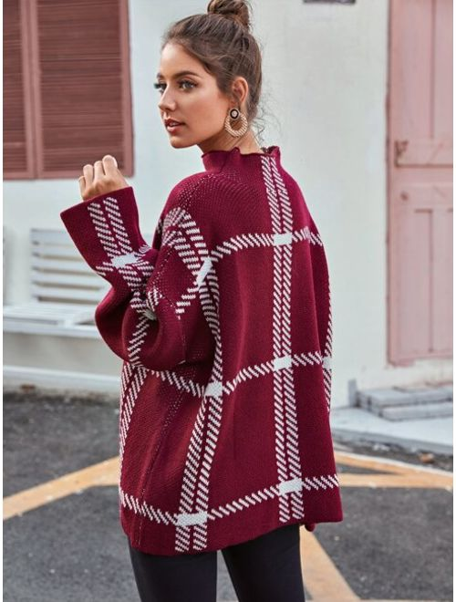 Funnel Neck Drop Shoulder Plaid Oversized Sweater