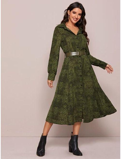Snakeskin Print Belted Shirt Dress