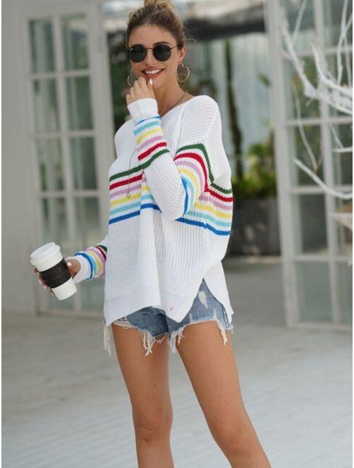 V Neck Striped Split Side Sweater